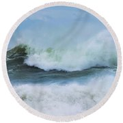 Round Beach Towel featuring the photograph Making Waves by Robin-Lee Vieira