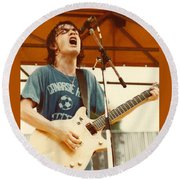 Malcolm Young Of Ac Dc At Day On The Green - July 1979 Round Beach Towel