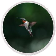 Male Ruby Throated Hummingbird Round Beach Towel