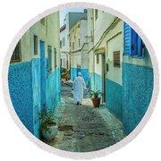 Man In White Djellaba Walking In Medina Of Rabat Round Beach Towel by Patricia Hofmeester