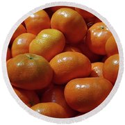 Mandarin Oranges Round Beach Towel by David Pantuso