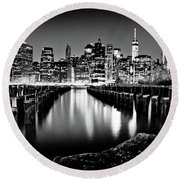 Manhattan Skyline At Night Round Beach Towel by Az Jackson