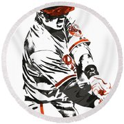 Manny Machado Baltimore Orioles Pixel Art Round Beach Towel by Joe Hamilton