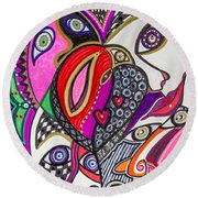 Many Faces Round Beach Towel