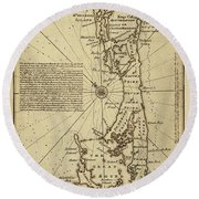 Map Of Bermuda 1750 Round Beach Towel by Andrew Fare