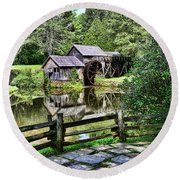 Round Beach Towel featuring the photograph Marby Mill Pathway by Paul Ward