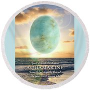 March Birthstone Aquamarine Round Beach Towel