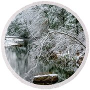 Round Beach Towel featuring the photograph March Snow Cranberry River by Thomas R Fletcher