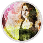 Round Beach Towel featuring the mixed media Maria Valverde by Svelby Art
