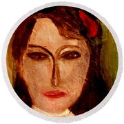 Round Beach Towel featuring the painting Marianne by Bill OConnor