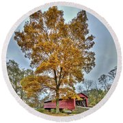 Maryland Covered Bridge In Autumn Round Beach Towel