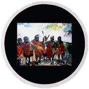 Masaai Boys Round Beach Towel