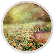 Round Beach Towel featuring the photograph Masquerade by Diana Angstadt