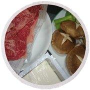 Materials Of The Sukiyaki Dish  Round Beach Towel
