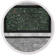 Maths Formula On Chalkboard Round Beach Towel