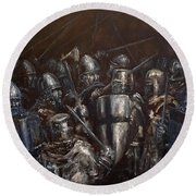 Round Beach Towel featuring the painting Medieval Battle by Arturas Slapsys