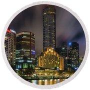 Melbourne City Skyline Over Yarra River  Round Beach Towel