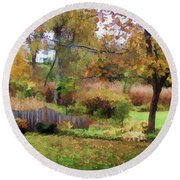 Round Beach Towel featuring the photograph Mellow Days by Betsy Zimmerli