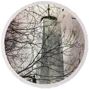 Round Beach Towel featuring the photograph Memorial by Judy Wolinsky