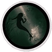 Mermaid Deep Underwater Round Beach Towel