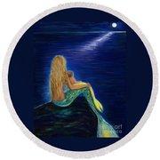 Round Beach Towel featuring the painting Mermaids Sweet Babies Moon by Leslie Allen