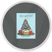 Merry Christmas Round Beach Towel by Quwatha Valentine