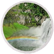 Mesa Falls Round Beach Towel by Greg Norrell