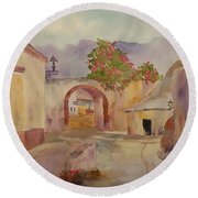 Mexican Street Scene Round Beach Towel