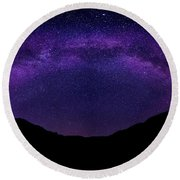 Round Beach Towel featuring the photograph milky way above the Alps by Hannes Cmarits