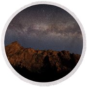 Milky Way Galaxy Over Zion Canyon Round Beach Towel