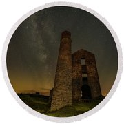 Milky Way Over Old Mine Buildings. Round Beach Towel