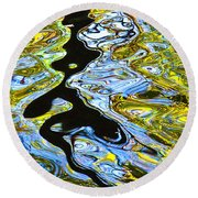 Mill Pond Reflection Round Beach Towel