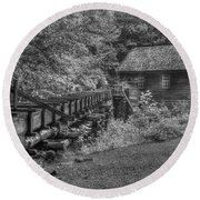 Round Beach Towel featuring the photograph Mingus Mill 3 Mingus Creek Great Smoky Mountains Art by Reid Callaway
