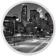 Minneapolis Skyline From Stone Arch Bridge Round Beach Towel