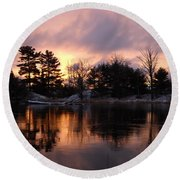 Mississippi River Dawn Light Round Beach Towel by Kent Lorentzen
