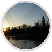 Mississippi River Sunrise Reflection Round Beach Towel by Kent Lorentzen