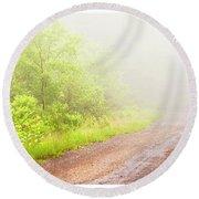 Misty Back Road, Pocono Mountains, Pennsylvania Round Beach Towel