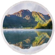 Round Beach Towel featuring the photograph Misty Dawn Lake by Ian Mitchell