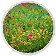 Mixed Wildflowers In Bloom Round Beach Towel
