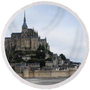 Mont St Michel Round Beach Towel by Therese Alcorn
