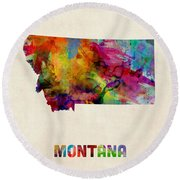Montana Watercolor Map Round Beach Towel