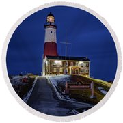 Round Beach Towel featuring the photograph Montauk Point Lighthouse by Susan Candelario