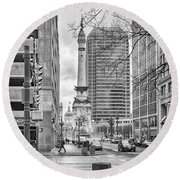Round Beach Towel featuring the photograph Monument Circle by Howard Salmon