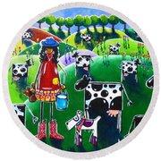 Moo Cow Farm Round Beach Towel by Jackie Carpenter