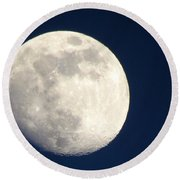 Moon In Blue Round Beach Towel