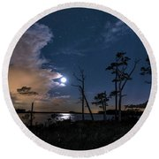 Moon Over Blackwater Round Beach Towel