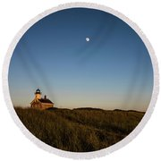Moon Over The North Light Round Beach Towel