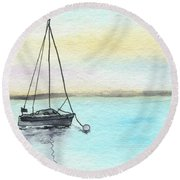 Moored Sailboat Round Beach Towel
