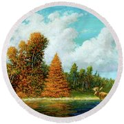 Moose Country Round Beach Towel