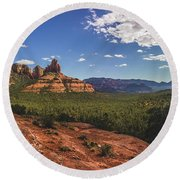 Mormon Canyon Panorama Round Beach Towel